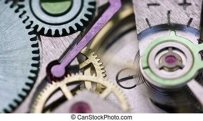 Closeup of Clockwork Mechanism inside a Watch - 1920x1080...