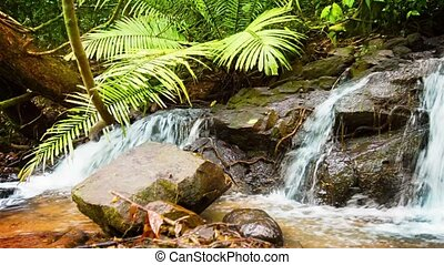 Natural Thai Waterfall with Rocks and Boulders - 1920x1080...