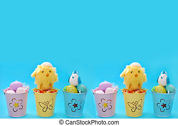 easter border with eggs in pastel color buckets - easter...
