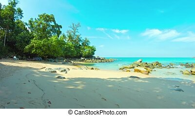 Beautiful, Deserted Tropical Beach in Southern Thailand -...