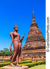 Sukhothai historical park, ancient Buddha Thailand, They are...