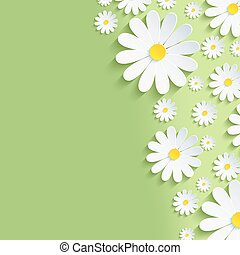 Spring green nature background with white chamomiles -...