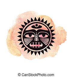 Illustration of polynesian style tattoo on watercolor...