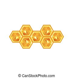 Illustration of origami honeycomb isolated on white...