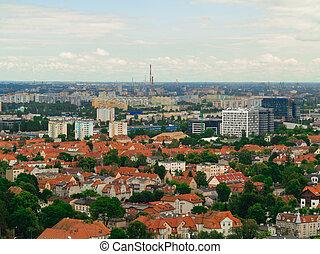 antena, Prospekt, z, wieża, Od, okręg, Gdańsk, Zabudowanie,...