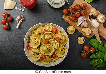 Homemade big tortellini - Homemade tortellini stuffed...