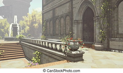Fountain in the yard of the mansion - Courtyard of the...