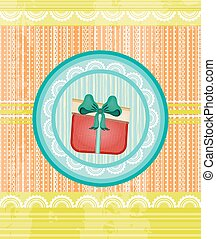 Yellow, orange, striped card with dotted, red gift with blue bow, grunge, retro design