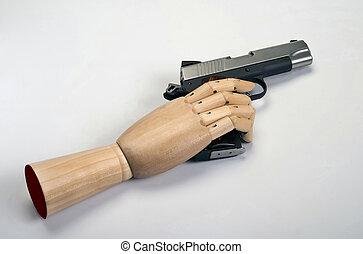45 caliber handgun - 45 Caliber handgun with wooden arm
