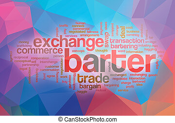Barter word cloud with abstract background