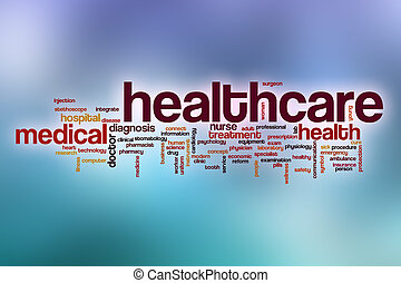 Healthcare word cloud with abstract background