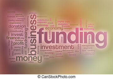 Funding word cloud with abstract background
