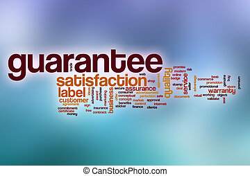 Guarantee word cloud with abstract background