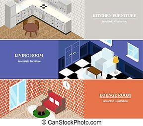 Isometric rooms with furniture.