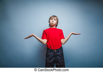Boy, teenager, twelve years in red T-shirt, threw up his...