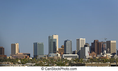City of Phoenix Downtown Panorama - Blue Sky Cityscape of...