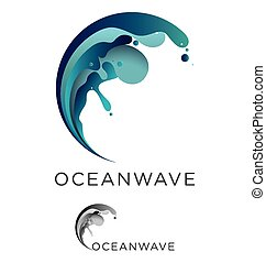 Ocean wave - Abstract vector ocean wave emblem design in...