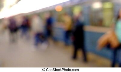 People in train station - People walking out of the arrived...