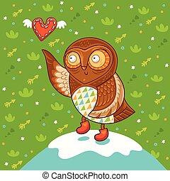 Cute cartoon owl with heart
