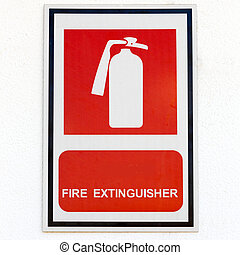 symbol of fire extinguisher isolated on white wall