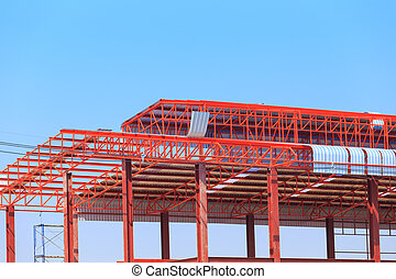 labor working in construction site for roof prepare - labor...