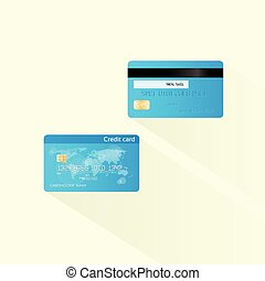 Credit card blue with chip realistic vector illustration, two side front and back flat design