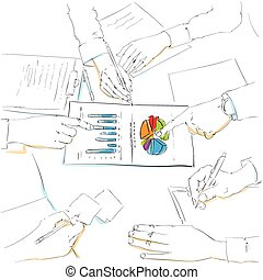financial charts sketch business people team work group