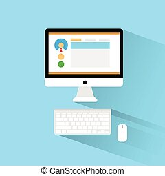 computer workstation workplace flat icon design vector...