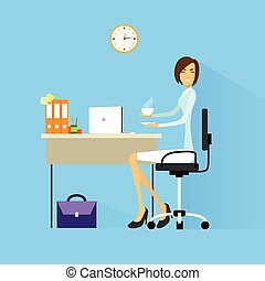 business woman drink coffee sitting at desk in office...
