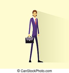 Businessman smile hold briefcase, full length business man...