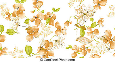 flower - watercolour painting of orange flowers in white...