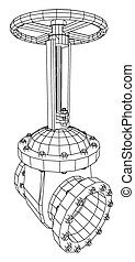 Vector industrial equipment oil and gas valve. EPS 10. Tracing illustration of 3d.