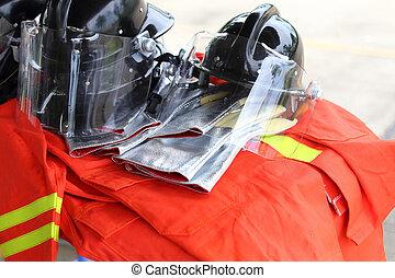 uniforme, seguridad, para, bombero,