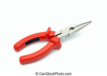 Flat-nose pliers with red handles on a white background