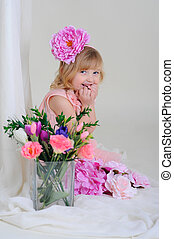 girl with nice teeth blesyatschimi eyes flower in her hair and a