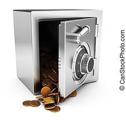 safe and coins - 3d illustration of steel safe full of...