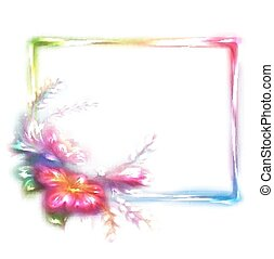 Vector rainbow frame with flower on white background