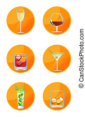 Alcoholic Drink Icons - Alcoholic drink icons isolated on...
