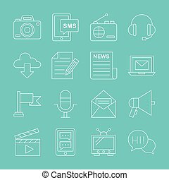 Media electronic line icon set