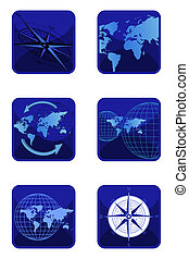World and Compass Icons