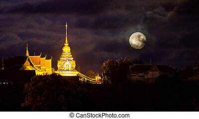Full moon on thai temple