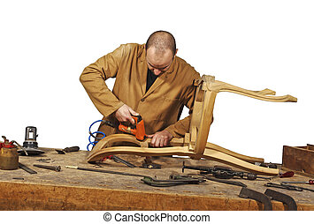 carpenter at work - craftsman at work isolated on white...
