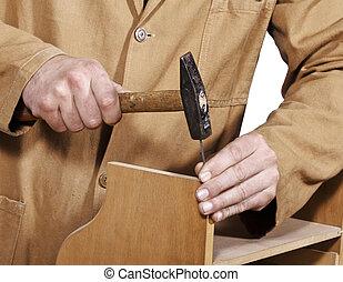 carpenter at work detail - craftsman at work fine closeup...