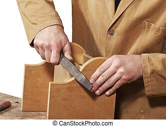 carpintero, trabajo, detalle