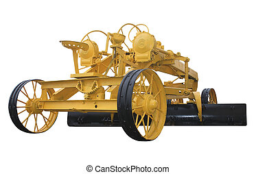 The old road equipment - Old trailer grader. Construction...