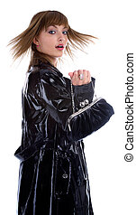 model in black coat - attractive young model in bright black...