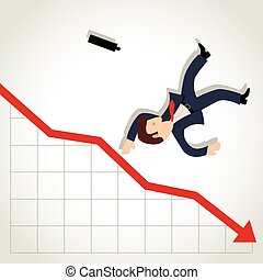 Businessman Falling Down - Simple cartoon of a businessman...