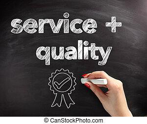 servicio, y, calidad, texto, en, tabla, con, cinta,