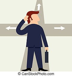 Decision - Simple cartoon of a man figure at the...