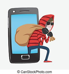 Hacker step out of smart phone - Red hood Hacker step out of...